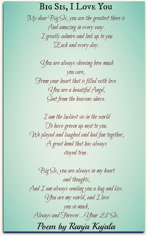 Big Sis I Love You Ranja Kujala Poetry For All Seasons And Emotions