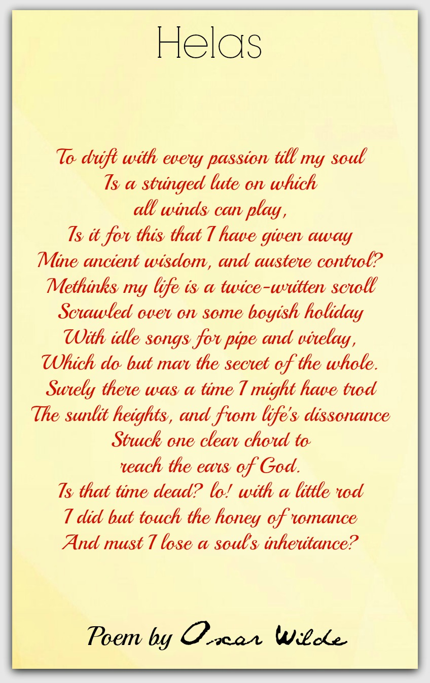 Helas Oscar Wilde Poetry For All Seasons And Emotions